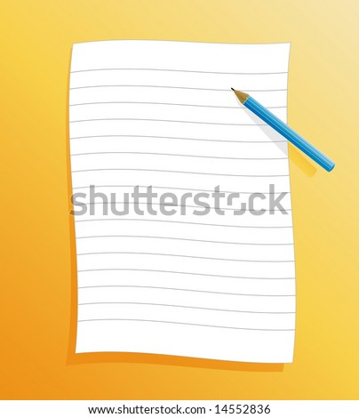 Illustration of a slick ruled paper on orange background with shadow and pencil.