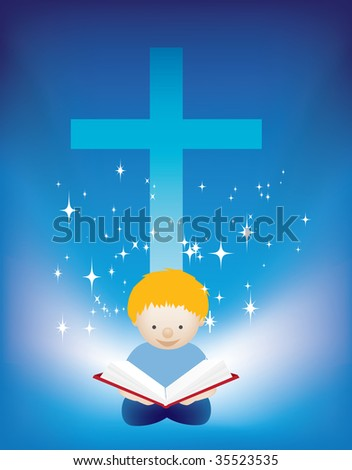 illustration of a small child reading the bible