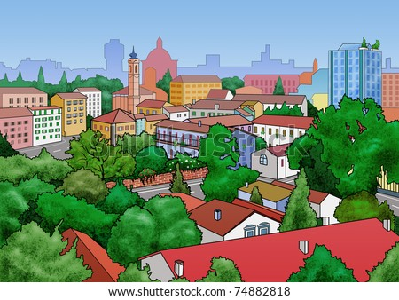 Illustration of a small town landscape. View from above