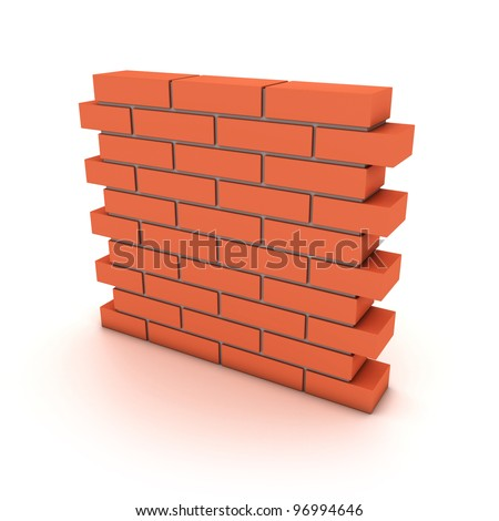 Illustration of a small wall from a red bricks - stock photo