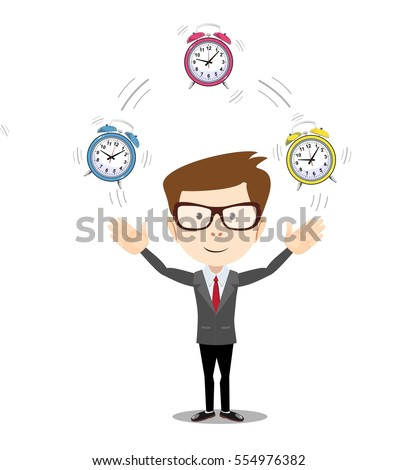 illustration of a smiling cartoon businessman juggling with alarm clocks, symbolizing time management.