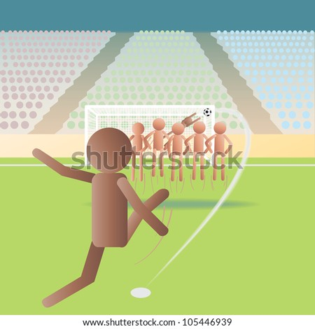 illustration of a soccer match, football match on a free kick situation.