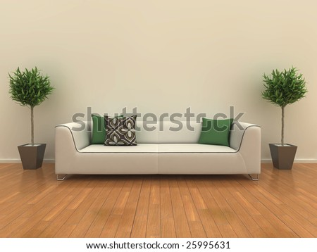 Illustration of a sofa on a shiny wooden floor with a plant either side.