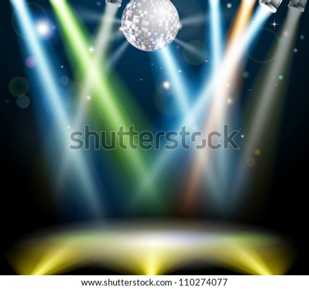 Illustration of a spotlit disco dance floor with mirror ball or disco ball