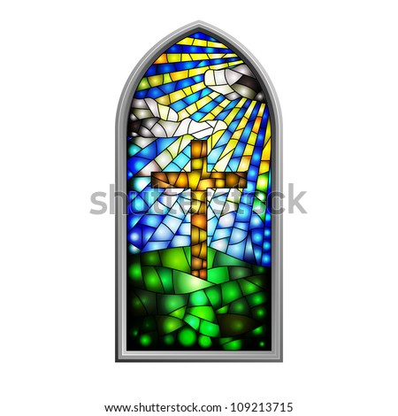 Illustration of a stained glass window