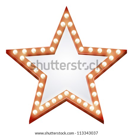 Illustration of a star shaped illuminated sign with light bulbs round it