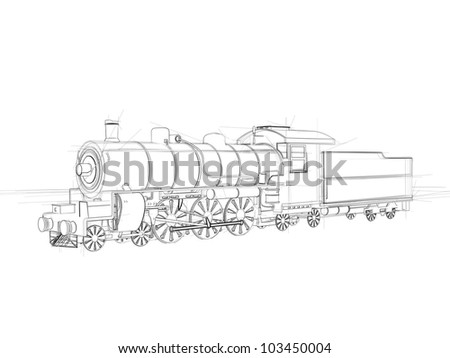 Airstock is - Illustration of a steam locomotive  Black ink