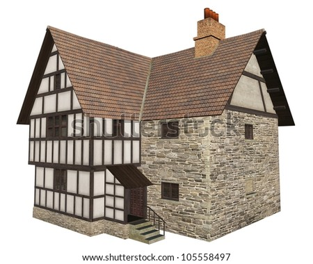 Illustration of a stone and half-timbered European Medieval country house isolated on a white background - front view, 3d digitally rendered illustration isolated on white