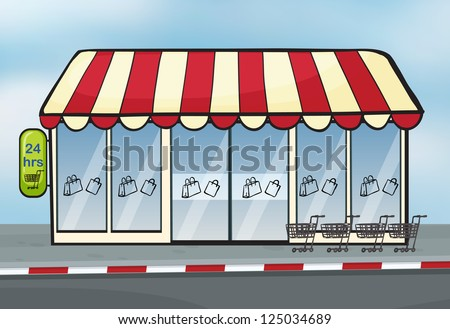 Illustration of a store near a street