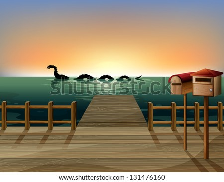Illustration of a sunset at the port with two wooden mailboxes