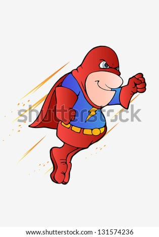 illustration of a super hero flying on isolated white background