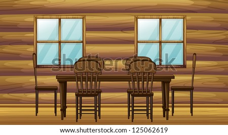Illustration of a table and chairs in a room