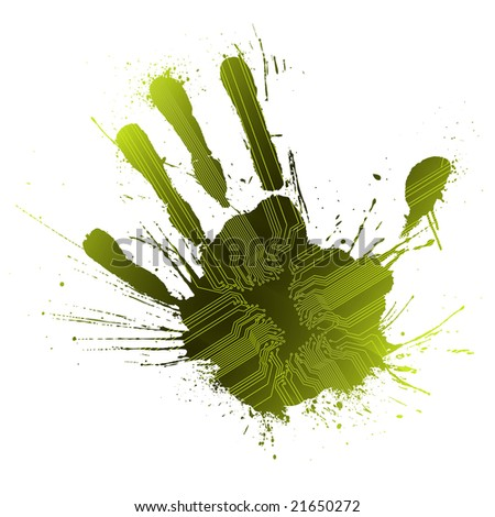 Illustration of a technological circuitry hand splatter with highly detailed ink explosion. Green.