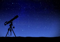Illustration of a telescope watching the wilky way