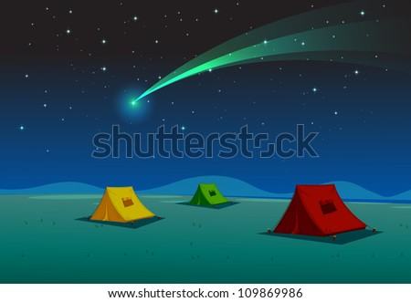 illustration of a tent house and comet in night sky