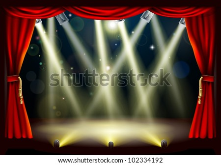 Illustration of a theater stage with lots of stage lights or spotlights with footlights