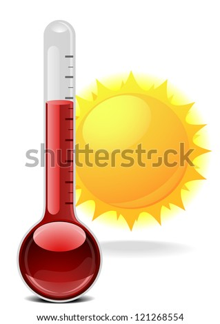 illustration of a thermometer with a sun