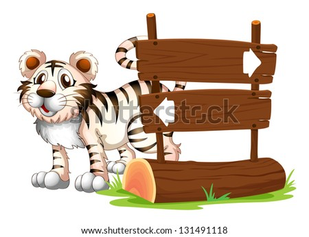 Illustration of a tiger at the back of a wooden signboard on a white background