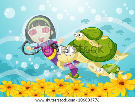 illustration of a tortoise and girl in water
