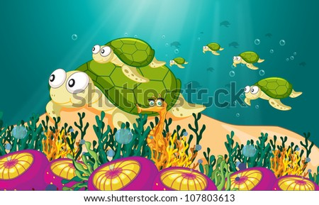 illustration of a tortoise swimming in water