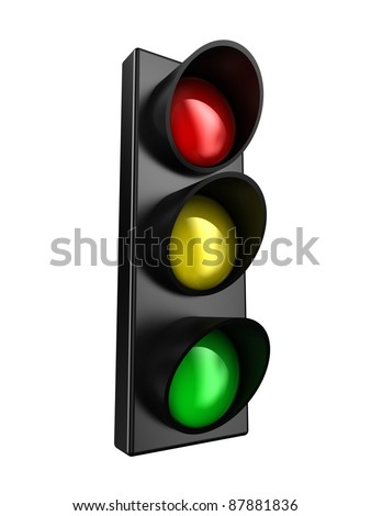 Illustration of a traffic light with three colours