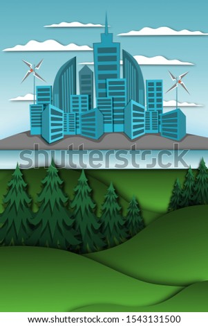 Illustration of a tree in green area and a city area with buildings,nature conservation areas,natural energy