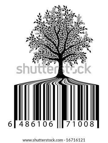 Illustration of a tree with bar-code roots