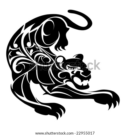illustration of a tribal design black panther - stock photo