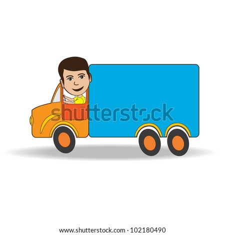Illustration of a truck driver isolated in white background.