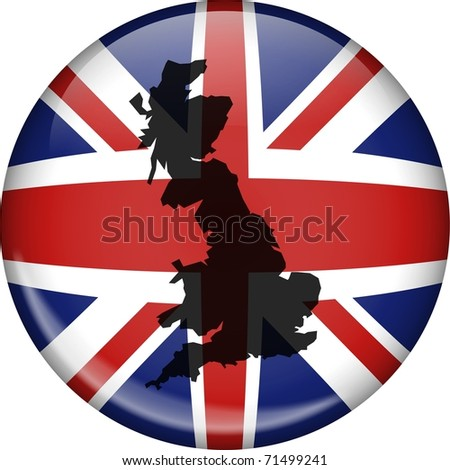Illustration of a union jack flag of Great Britain shaped like a globe with a map of the UK superimposed over the top.