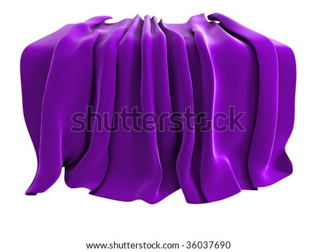 Illustration of a velvet drape, isolated on a white background. Could be used to represent unveiling of a new product etc