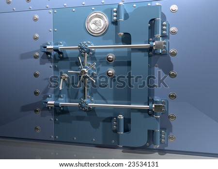 Illustration of a very secure bank vault - stock photo