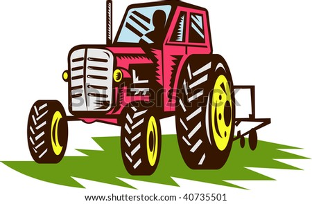 illustration of a vintage tractor done in woodcut style.