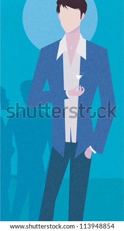 Illustration of a well-dressed man holding a drink at a party
