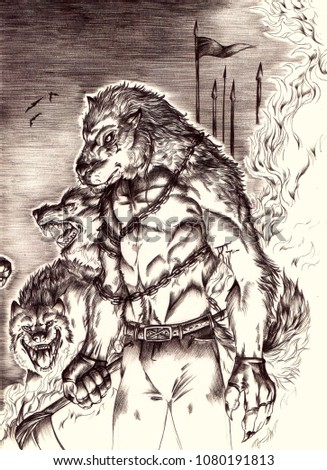 Stock Photo Illustration of a werewolf with chains standing