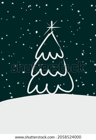 Illustration of a white Christmas tree on a snowy mountain on a dark blue color.  Beautiful picture on a Christmas card.  Snowfall for the new year, celebration, nature, forest. Winter night landscape