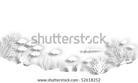Illustration of a white cutout sea coral silhouette foreground