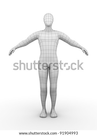 Illustration of a wired man. Futuristic concept
