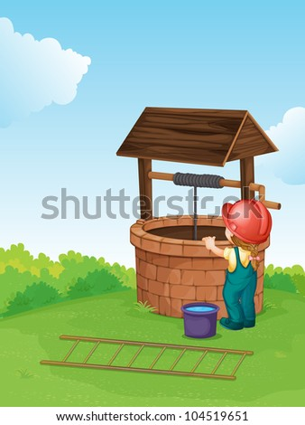 Illustration of a worker at a well - EPS VECTOR format also available in my portfolio.