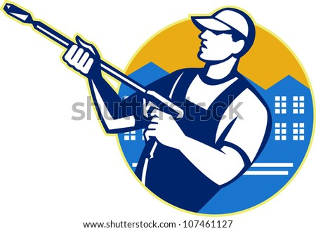 Illustration of a worker with water blaster pressure power washing sprayer spraying set inside circle done in retro style.
