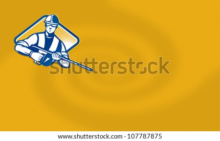 Illustration of a worker with water blaster pressure power washing sprayer spraying set inside diamond shape facing front done in retro style.