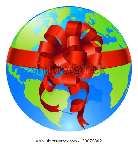 Illustration of a world globe with gift bow round it. Concept for opportunity or being given the world, or for the world being a precious gift.