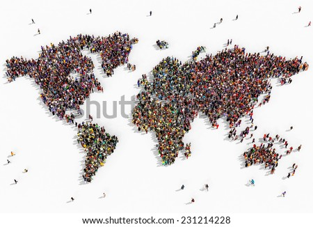 Illustration of a world map drawn out with realistic people seen from above on white background
