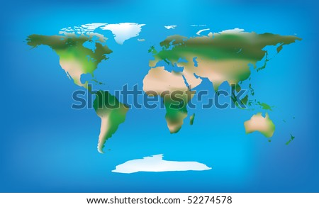 Illustration of a world map with detailed land colouring including ice, dessert and greenery