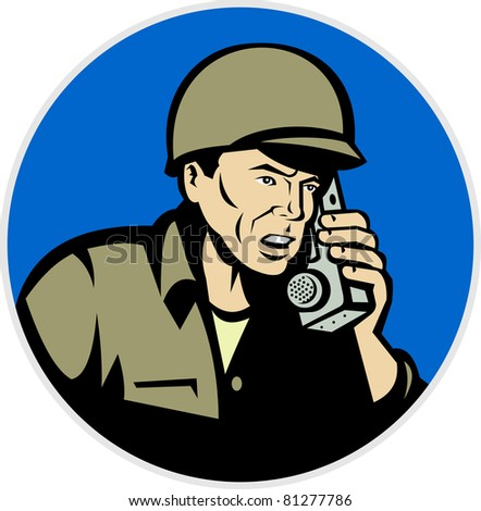 illustration of a world war two soldier talking on radio walkie talkie phone  done in retro style set inside circle