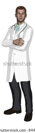 Illustration of a young doctor with stethoscope in a white coat