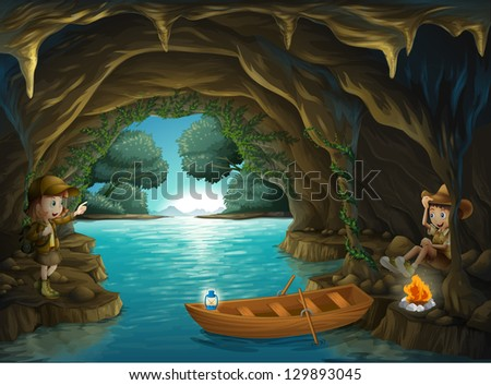 Illustration of a young girl and boy inside the cave