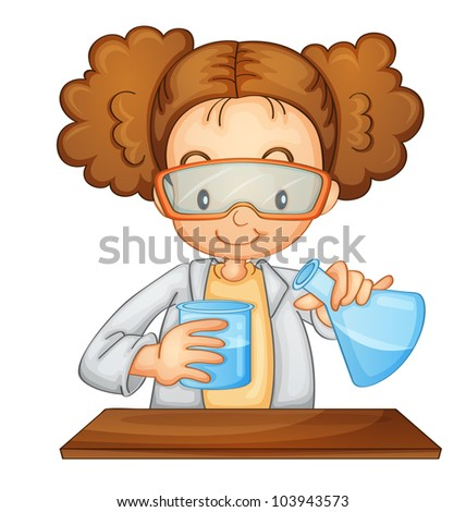 Illustration of a young scientist - EPS VECTOR format also available in my portfolio. - stock photo