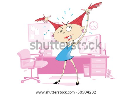 Illustration of a young woman pulling at her hair in frustration, whilst standing at her desk and computer. Woman and background are layered separately.