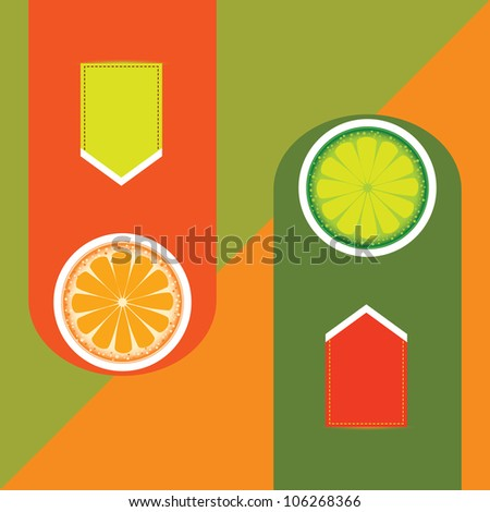 illustration of abstract banner of orange and lime. Raster version